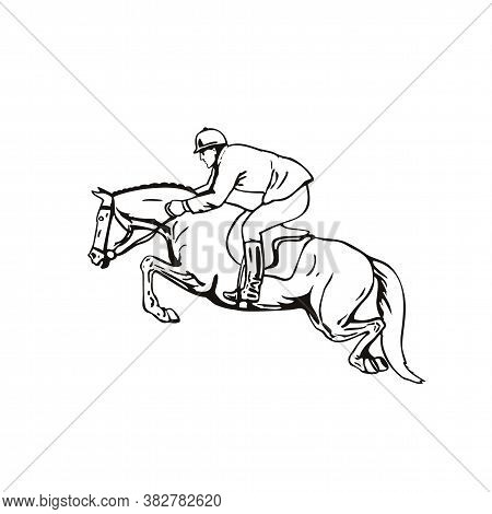 Retro Style Illustration Of An Equestrian And Horse Show Jumping, Stadium Jumping Or Open Jumping, A