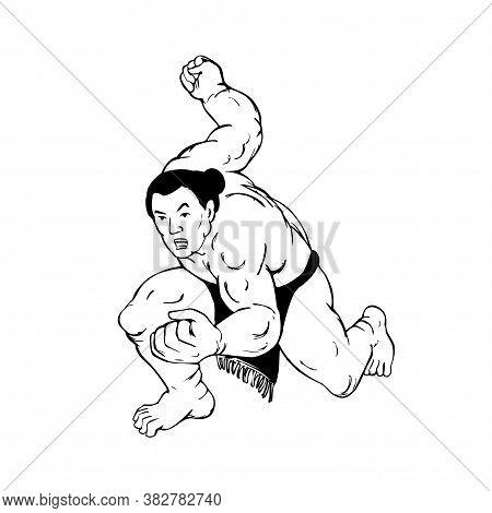 Ukiyo-e Or Ukiyo Style Illustration Of A Professional Sumo Wrestler Or Rikishi In Fighting Stance Vi