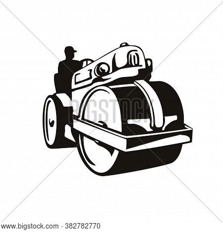 Retro Woodcut Style Illustration Of A Vintage Road Roller, Roller-compactor Or Steamroller, A Compac