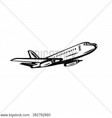 Retro Black And White Style Illustration Of A Jumbo Passenger Jet Airplane Or Airliner Taking Off Vi