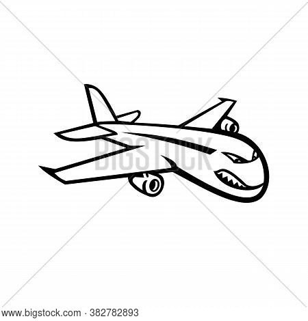 Black And White Mascot Illustration Of An Angry Wide-body Commercial Jet Airliner And Cargo Aircraft