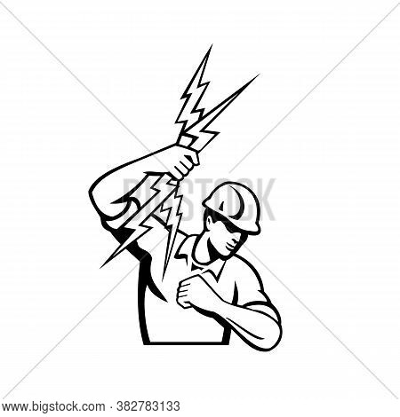 Black And White Illustration Of A Power Lineman Or Electrician Holding Throwing Lightning Bolt Set I