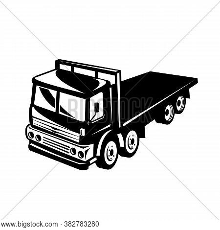 Retro Black And White Style Illustration Of A Flatbed Truck Viewed From Side On A High Angle On Isol