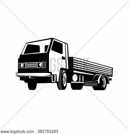 Retro Black And White Style Illustration Of A Lightweight Flatbed Truck Viewed From Side On Low Angl