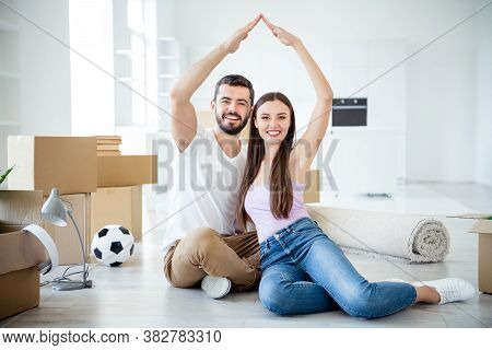 Portrait Of His He Her She Nice Attractive Cheerful Cheery Couple Sitting On Floor Making Roof Over