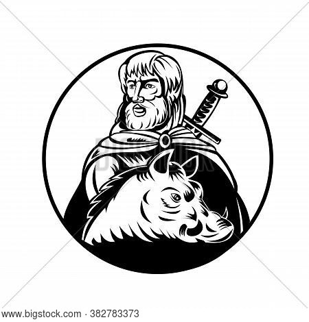Retro Woodcut Style Illustration Of Freyr Or Frey, A God In Norse Mythology, Associated With Sacral