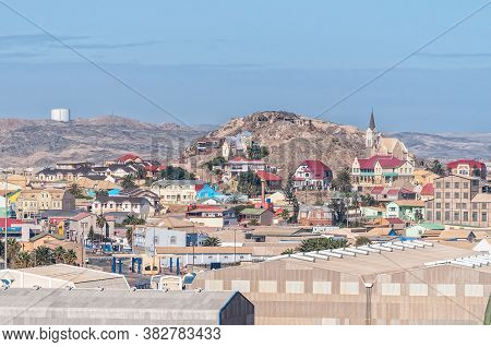 Luderitz, Namibia - June 15, 2011: A View Of Luderitz As Seen From Shark Island. Buildings Are Visib
