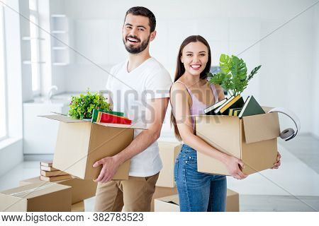 Portrait Of His He Her She Nice Attractive Lovely Cheerful Cheery Glad Couple Carrying Stuff Package