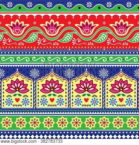 Indian Or Pakistani Truck Art Floral Seamless Vector Pattern, Jingle Trucks Vibrant Repetitive Desig