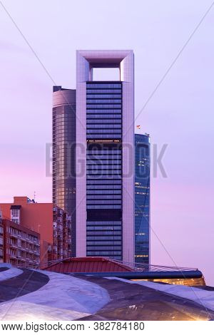 Madrid, Spain, Europe - April 05, 2010: The Tallest Buildings Of Madrid Known As The 4 Towers At Ave