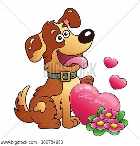 Dog With Flowers And Heart Isolated On White Background. Greeting Card. Birthday. Valentine's Day. F
