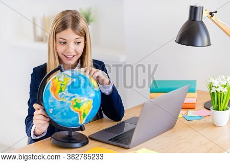 Portrait Of Her She Nice Attractive Intellectual Brainy Cheerful Small Little Long-haired Girl Using