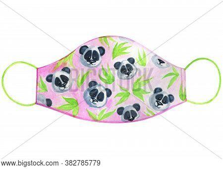 Watercolor Medical Mask With Panda On Pink Background. Face Mask. Kids Illustration. Illustration Mo