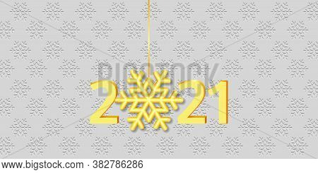 Happy New Year 2021 Banner. Golden Numbers 2021 And Hanging Snowflake On The Embossed Background. Ve