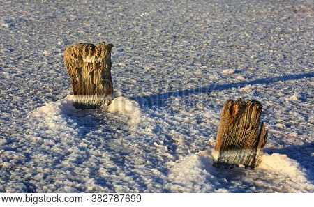 old wooden pillars in dry salt lake