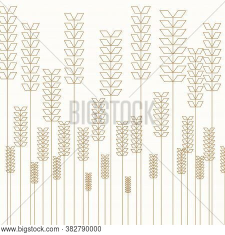 Seamless Pattern With Wheat Spikes, Sheaf Of Grain, Sheaf Of Hay On Yellow. Illustration