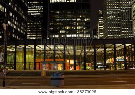 illuminated office buildings at night