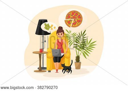 Online Shopping, Order, Quarantine, Coronavirus Concept. Young Happy Woman Or Girl Cartoon Character