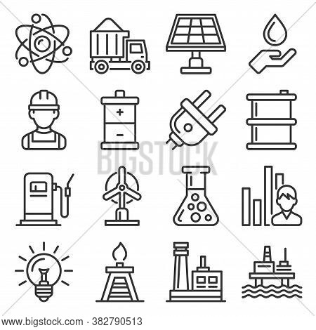 Utilities Icons Set. Electricity Water Gas Utility On White Background. Vector