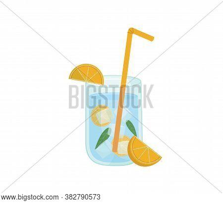 Glass Of Lemonade With Ice. Lemon Juice. Glass Of Lemon Cocktail With Straw.