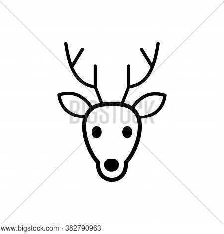 Vector Of Deer Head Icon. Deer Icon Vector. Deer Icon Black On White Background. Deer Icon Simple An