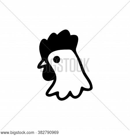 Vector Of Chicken Head Icon. Chicken Icon Vector. Chicken Icon Black On White Background. Chicken Ic