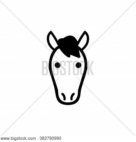 Vector Of Horse Head. Horse Icon Vector. Horse Icon Black On White Background. Horse Icon Simple And