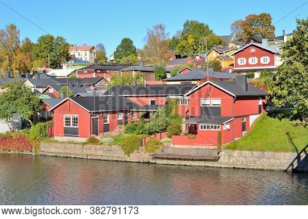 Very Beautiful Town Of Porvoo In Finland In The Golden Autumn
