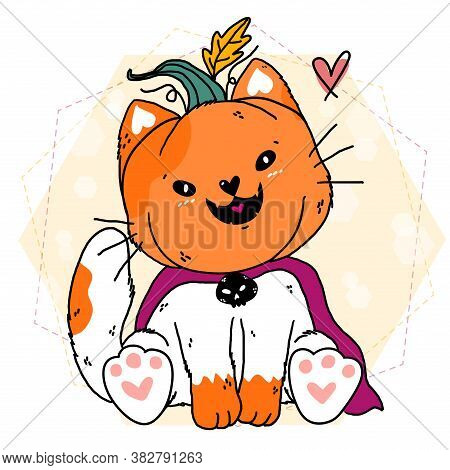 Happy Doodle Cute Smile White Fat Cat Wear Craved Halloween Pumpkin Costume, Trick Or Treat, Idea Fo