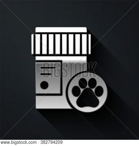 Silver Dog Medicine Bottle Icon Isolated On Black Background. Container With Pills. Prescription Med