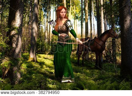 Fantasy Medieval Woman Archer Hunting In An Enchanting Forest With Bow And Arrow, 3d Render.