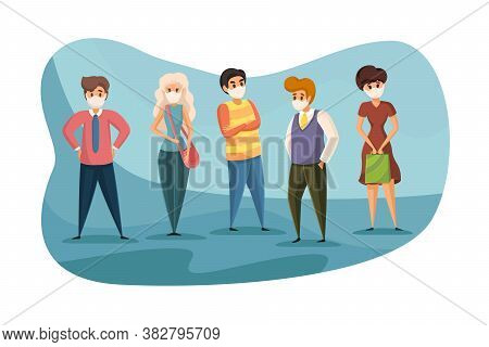 Coronavirus, Protection, 2019ncov, Infection Concept. Group Of Young People Men And Women Standing T