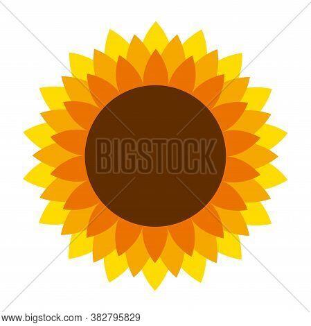 Sunflower Vector Cartoon Icon For Print Design. Vector Illustration Flower On White Background. Isol