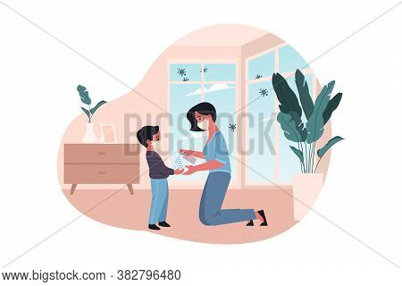 Healthcare, Quarantine, Covid19 Protection, 2019ncov, Coronavirus Infection Concept. Mother And Kid