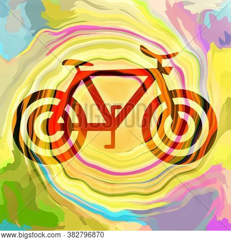 Bicycle On Bright Colorful Background, Abstract Illustration