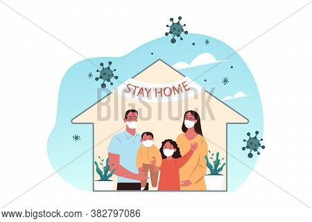Healthcare, Quarantine, Covid19, Infection, 2019ncov, Coronavirus, Home Concept. Family Mother Fathe