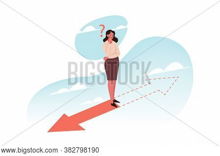 Problem, Thinking, Choice, Direction, Business Concept. Young Thoughtful Businesswoman Boss Manager