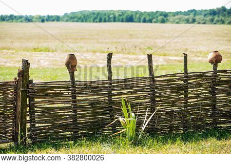Fence Wicker From The Vine, Texture, Background. Wicker Vine Fence. Woven Vines Texture Embossed Bac