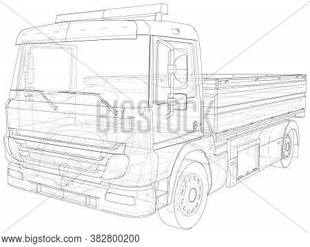 Vector Wire-frame Isolated Flatbed Truck On Background. Vector Rendering Of 3d