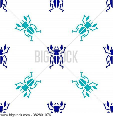 Blue Beetle Deer Icon Isolated Seamless Pattern On White Background. Horned Beetle. Big Insect. Vect