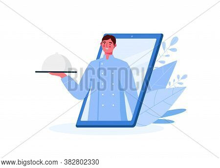 Online Food Delivery. Chef Character Looking Out Of Phone And Holding The Dish. Online Ordering Food
