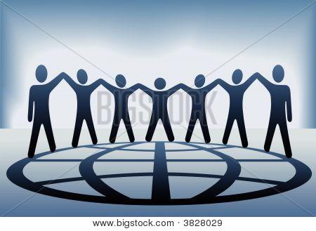 globale Menschen halten Hände und Arme auf Globus