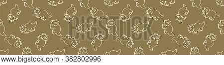 Seamless Background Cute Triceratops Dinosaur Gender Neutral Baby Border Pattern. Simple Whimsical M