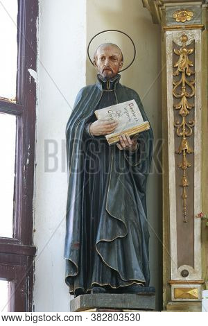 VRTACE, CROATIA - MAY 02, 2013: Saint Ignatius statue on the altar of the Sacred Heart of Jesus in the chapel of the Holy Spirit in Vrtace, Croatia