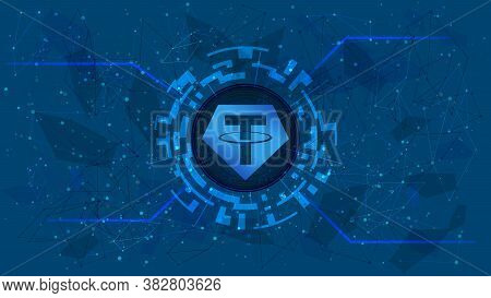 Tether Token Symbol, Usdt Coin Icon, In A Digital Circle With A Cryptocurrency Theme On A Blue Backg