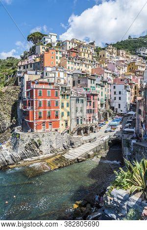 Riomaggiore, Italy - 06/26/2020: Aerial View Of Rio Maggiore In Cinque Terre