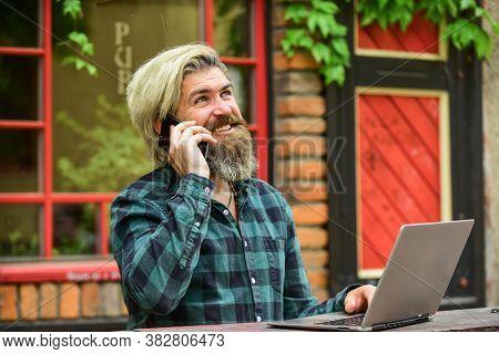 Modern Communication. Risky Shopping. Stock Trader. Online Business. Businessman Laptop Terrace. Onl