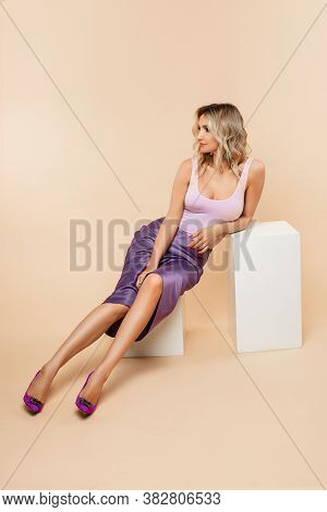 Elegant Beautiful Blonde Caucasian Woman. Full Length Stock Photo Portrait Of An Attractive Slim Cau