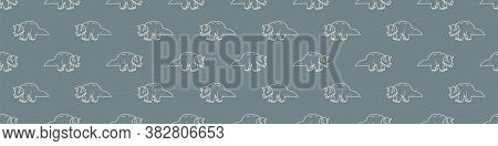 Seamless Background Triceratops Dinosaur Gender Neutral Baby Border Pattern. Simple Whimsical Minima