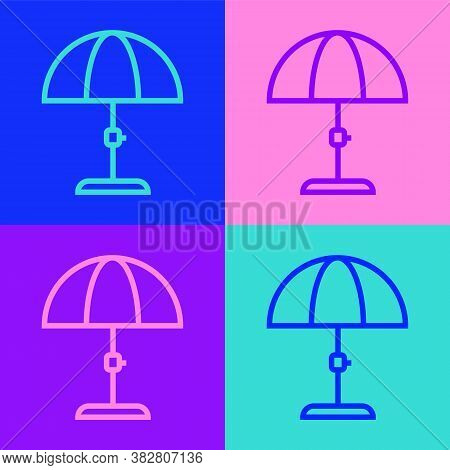 Pop Art Line Sun Protective Umbrella For Beach Icon Isolated On Color Background. Large Parasol For